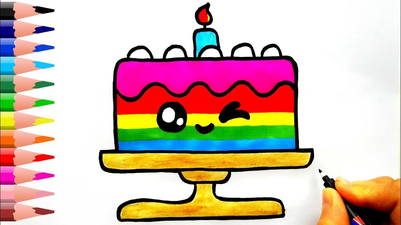 Pasta Nasıl Çizilir? - How To Draw a Cute Birthday Cake