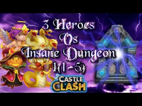 Castle Clash 3 Heroes Vs Insane Dungeon 1 ( 1-5 )