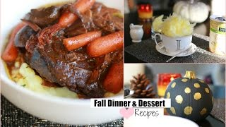 Easy Fall Dinner , Crockpot Dinner  Dessert And Fall Drink Recipe - Pot Roast Recipe Misslizheart