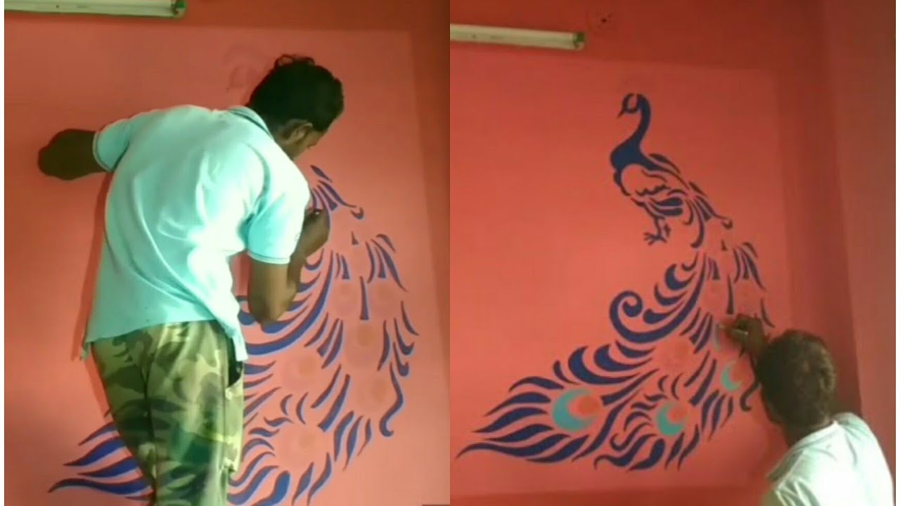 Stencil Peacock 3d Royale Play Texture Wallpaper Wall Paint 3d Design Using Led Projector