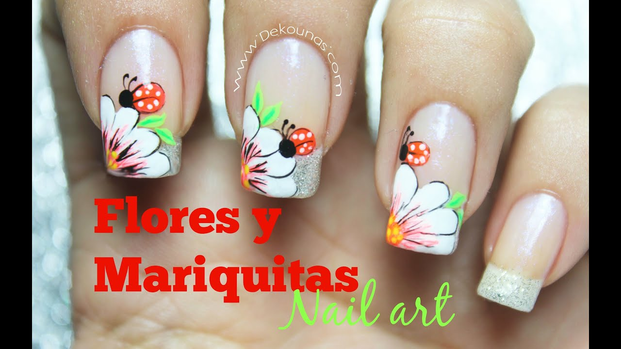 decoracin de uas flor y mariquita flower and lady bug nail art