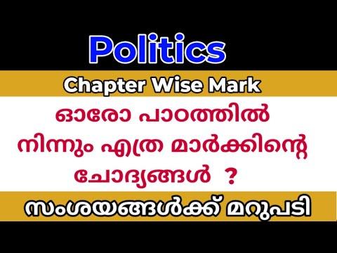 politics chapter wise mark/ ഓരോ പാഠഭാഗത്തു നിന്നും എത്ര മാർക്കിന്റെ ചോദ്യങ്ങൾ / സംശയവും മറുപടിയും