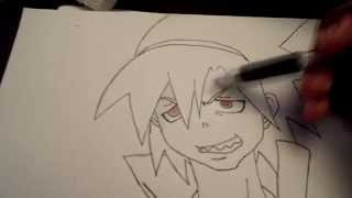 How to draw Soul from Soul Eater with shading and color
