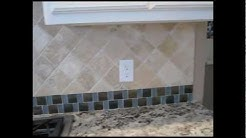 Tumbled Marble tile and  mosaic Glass tile Backsplash