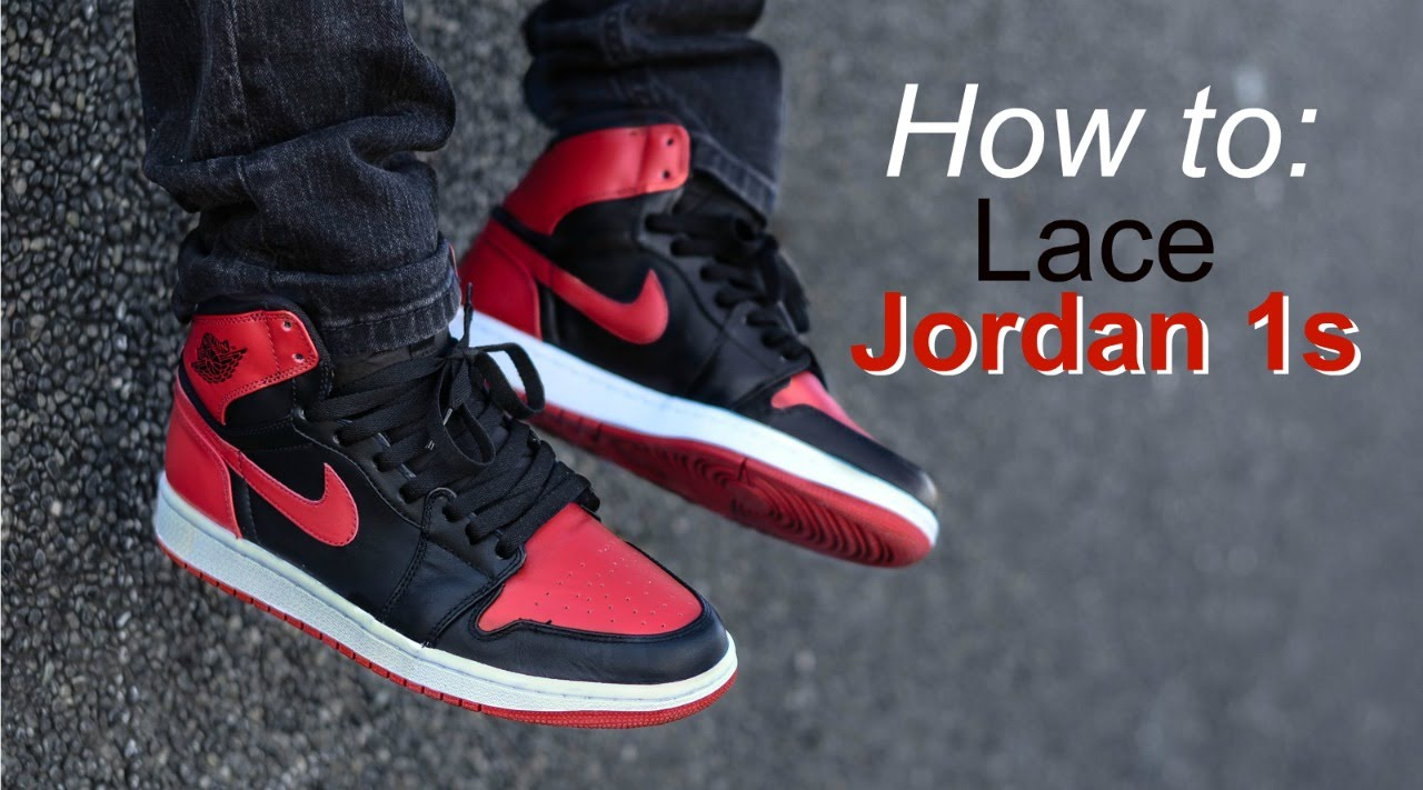 3a22da6acff6 How to Lace Jordan 1s + ON FEET! (Breds + Royals) - YouTube