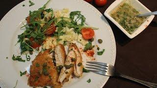 Куриное филе в сырной панировке с винным соусом