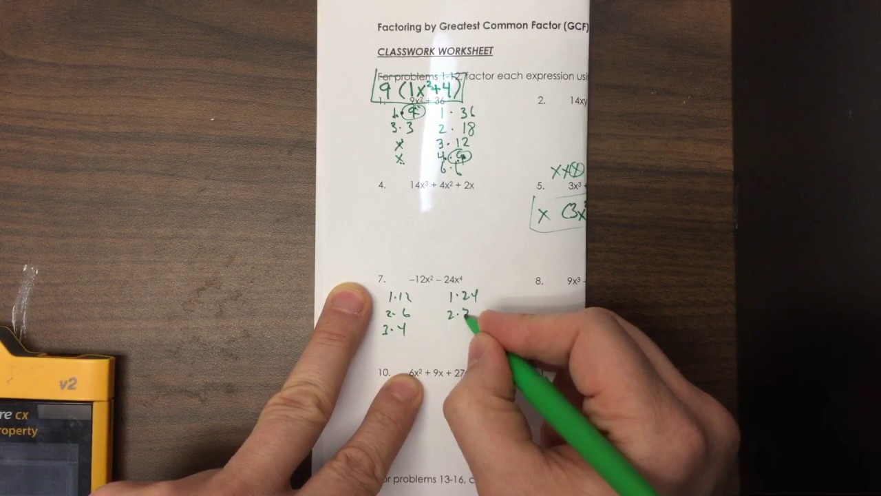 Factoring by Greatest Common Factor classroom worksheet YouTube – Factoring Using Gcf Worksheet