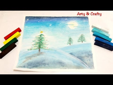 Christmas Tree in Snow Drawing/Moonlight Landscape Painting/Winter Snow Painting for Beginner