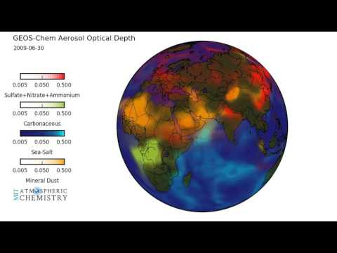 GEOS-Chem chemical transport model aerosol visualization