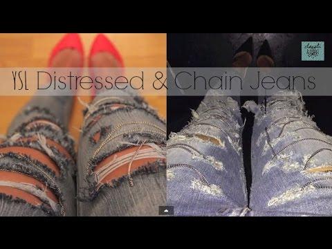 DIY: Saint Laurent distressed chained jeans - Kim Kardashian jeans