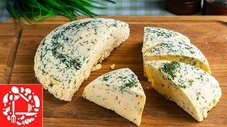 Домашний сыр из молока и кефира с зеленью Самый простой рецепт