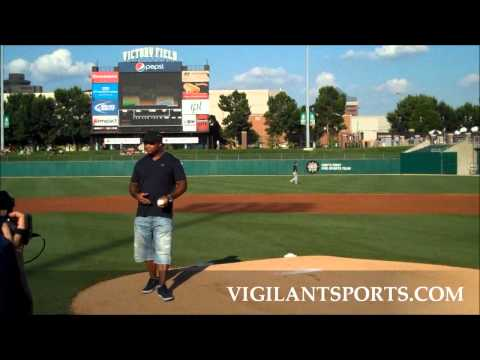 IU Coach Kevin Wilson & Colts Gary Brackett Throw First Pitch at Indianapolis Indians