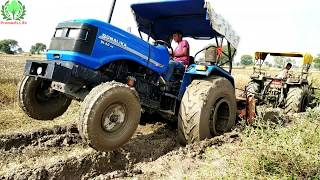 John Deere Stuck in Mud Rescue by 2 Tractors Sonalika 60 and Eicher 380 Tractor Day 2