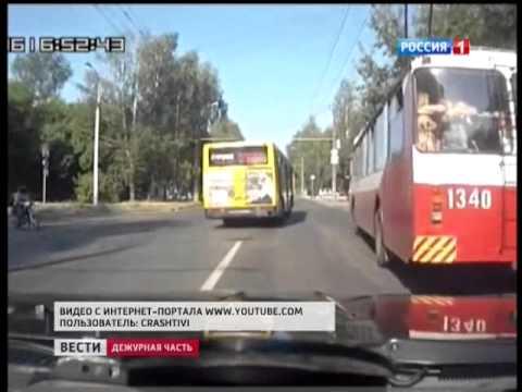 Гонки автобуса и троллейбуса сняли на видео