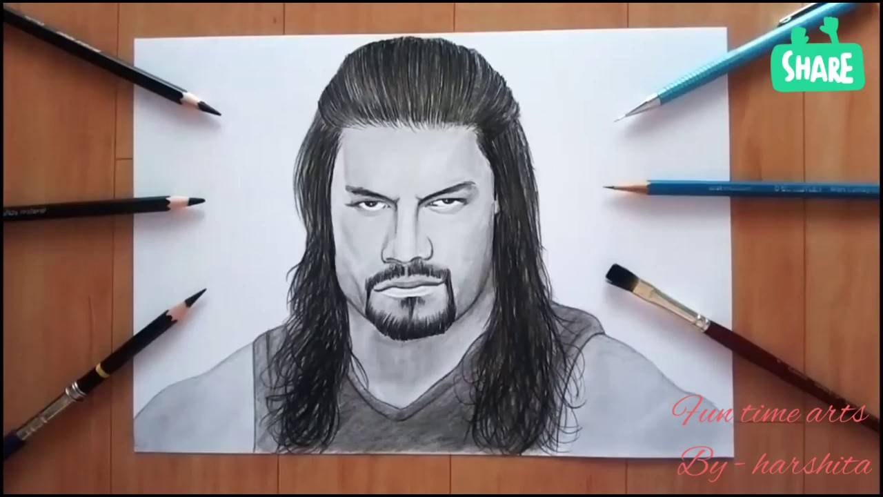 How to draw realistic roman reignssketch by harshitaeasystep by stepfor beginners fun time arts