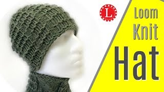 LOOM KNIT Mens Hat (Brimless) Pattern w Waffle Stitch Project Loomahat