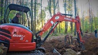 Kubota KX 040-4 Tackling A Big Stump