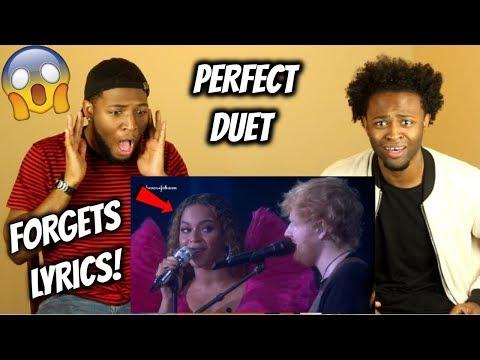 Perfect Duet Live - Beyoncé FORGETS THE LYRICS! (REACTION)