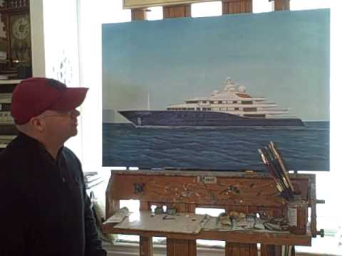 Artist Christopher Wheat painting Top 100 Mega Yachts