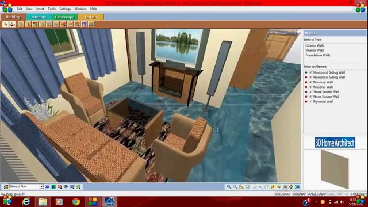 3d home architect design suite deluxe 8 - first project - YouTube