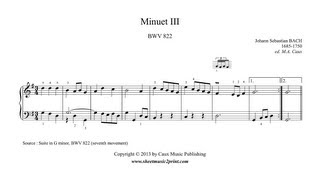 Bach : Minuet III in G Major - Suite BWV 822