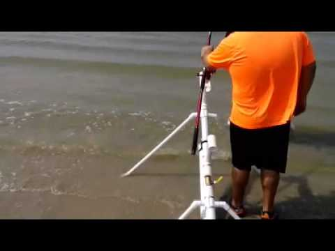 How to build a air powered bait cannon for Fishing bait launcher