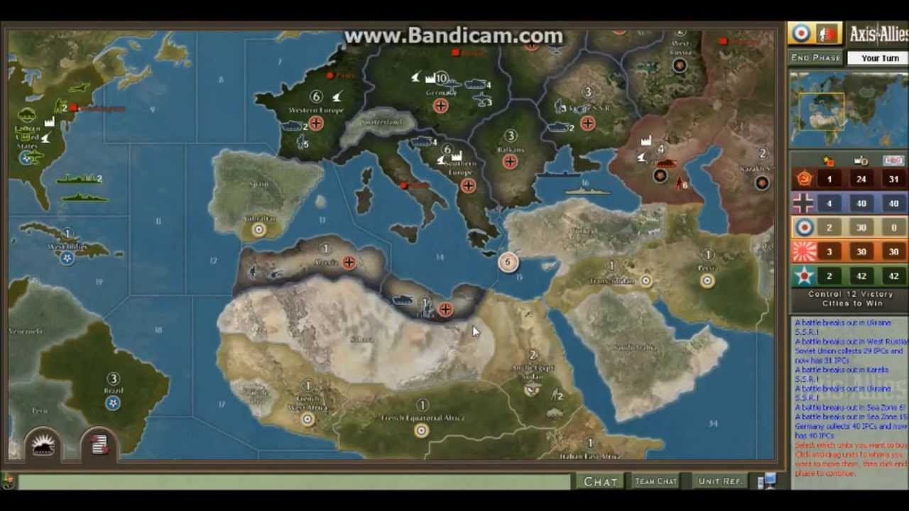 Axis and Allies 1942 Britain Gameplay and Strategy Episode 1