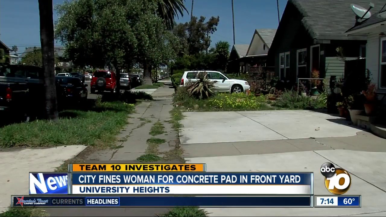 City Fines Woman For Concrete Pad In Front Yard