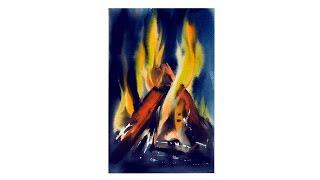 Экспресс-урок по акварельной живописи «Ночной костер»