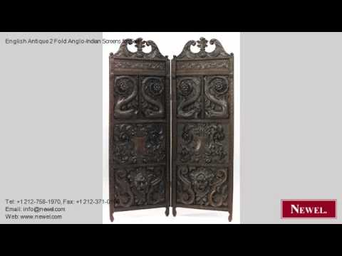 English Antique 2 Fold Anglo-Indian Screens for Sale