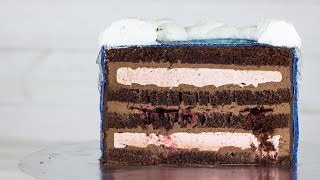 Рецепт торта Нежный шоколад Торт с зефиром внутри Шоколадный бисквит и крем на основе ганаша