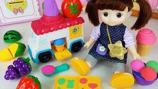 Baby Doll fruit ice cream car and refrigerator story music play - ToyMong TV 토이몽