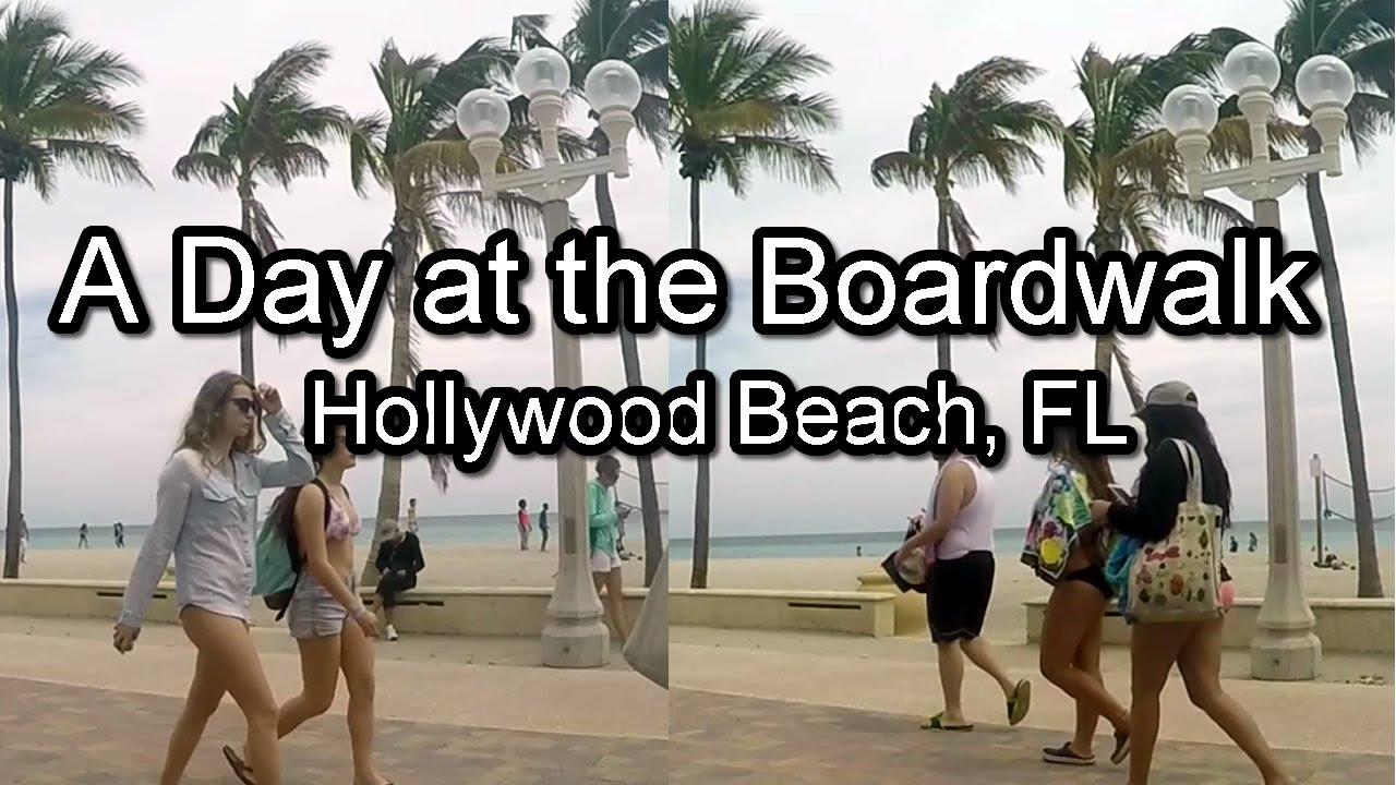 Spring Day At Hollywood Beach Boardwalk Fl