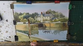 How to paint buildings and trees in watercolour easy watercolour