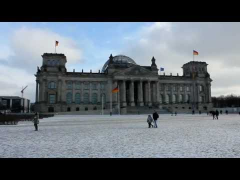 Berlin - Reichstag, Bundestag im Winter, German Parliament (HD)