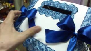 сундучок к свадьбе, свадебный сундучок, свадебная казна к синей свадьбе