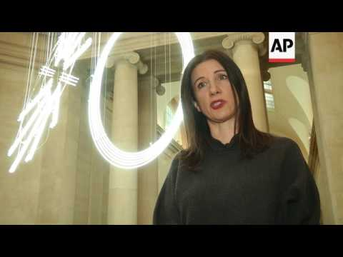 Dazzling neon sculpture greets visitors to London art museum