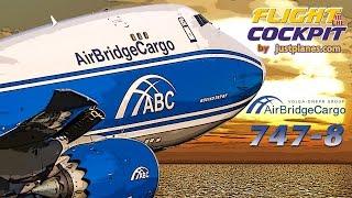 Boeing 747-8 Flightdeck LAX-O'Hare-Schiphol
