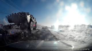 Dashcam of Trucker vs Overhead electrical cable