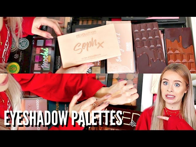 HUGE EYESHADOW PALETTE COLLECTION DECLUTTER!! | sophdoesnails