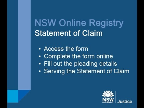 NSW Online Registry - Statement of Claim