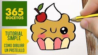 COMO DIBUJAR UN CUPCAKE KAWAII PASO A PASO - Dibujos kawaii faciles - How to draw a cupcake