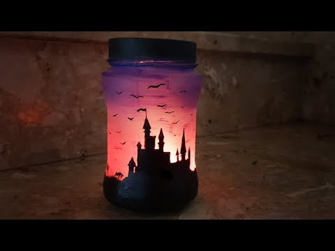 DIY | Fairy Glow Jar - Sunset With Castle Night Light | Lantern