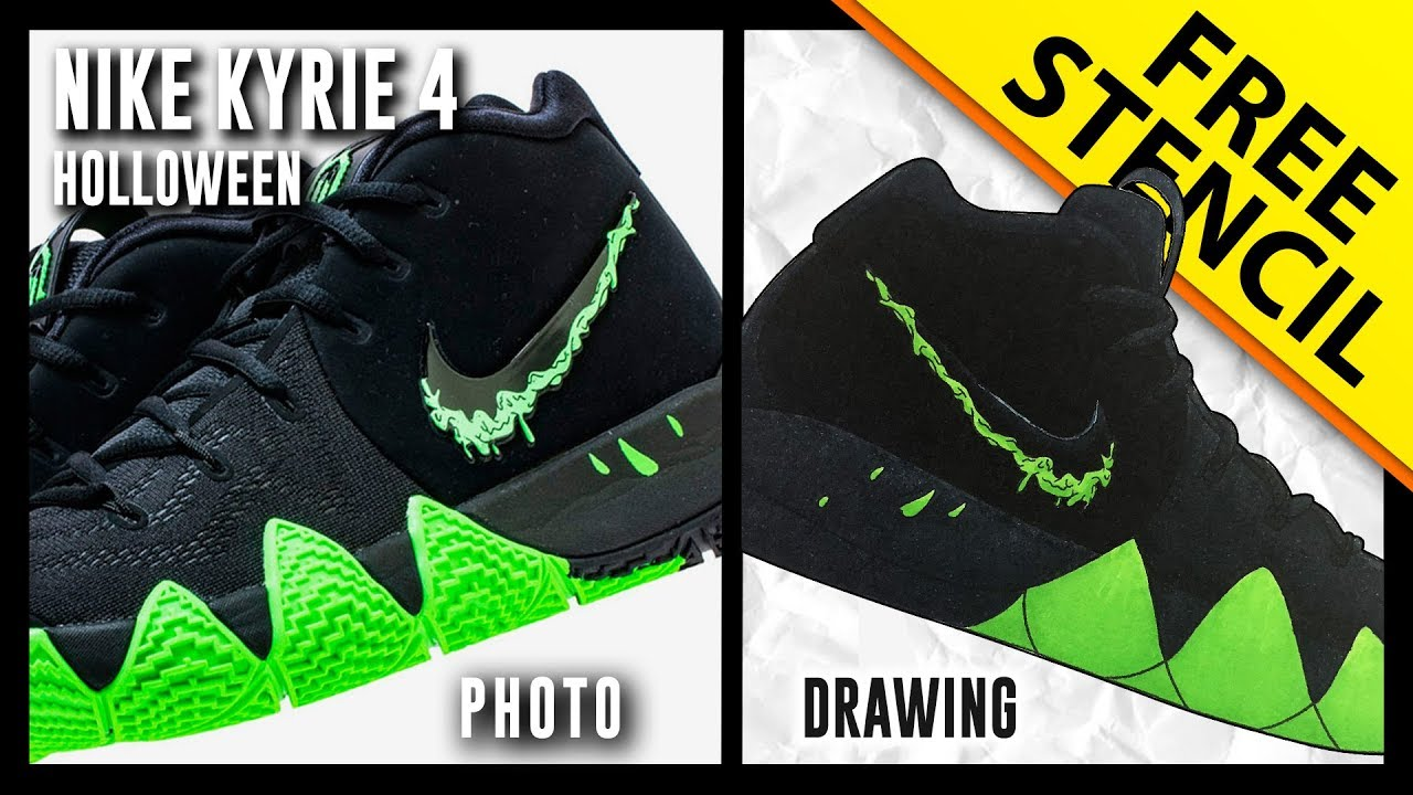 100% authentic 3e7e4 69ec3 Kyrie 4 Halloween - Sneaker Drawing w/ FREE Stencil