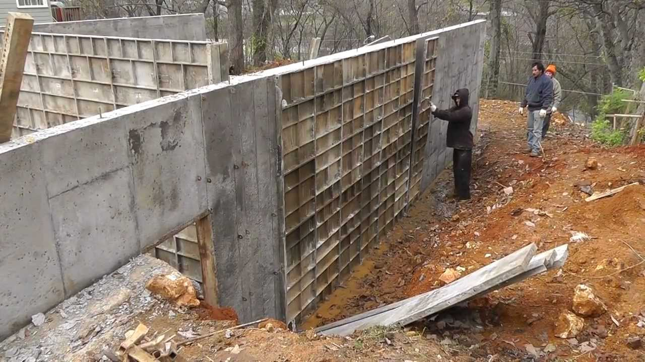 Design build narrow lot vlog 8 removing concrete forms for Basement wall forms