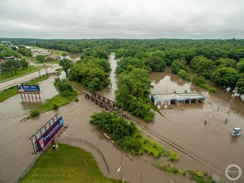 Aerial view of flooding in West Des Moines, Iowa - June 25, 2015