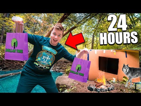 24 Hour Box Fort In The Woods  Dollar Store Survival Challenge (Part 1)