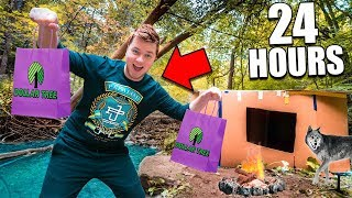 24 Hour Box Fort In The Woods 📦 Dollar Store Survival Challenge (Part 1)