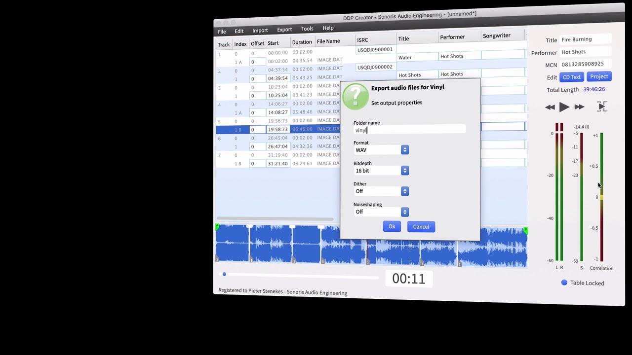 Vinyl mastering in Sonoris DDP Creator 4 1
