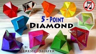 REAL 5-Pointed Origami Diamond -- NO GLUE!  (no music)
